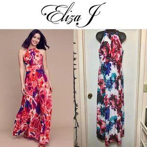 Eliza J Floral Chiffon Maxi Dress